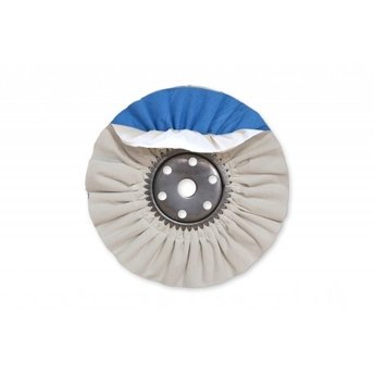 "4"" x 5"" White/Blue Combo Super Shine Industrial Airway Buffing Wheel"