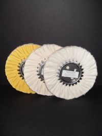 "8"" Buffing Wheel Set (One each: White, Yellow, Flannel)"