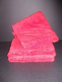 "Long Pile Edgeless Red Microfiber Towel (450 GSM, 16"" X 16"", 6 Pack)"