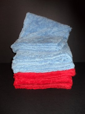 """Long Pile Edgeless Blue and Red Microfiber Towel (450 GSM, 16"""" X 16"""", 3 Each)"""